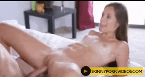Skinny whore riding a huge cock