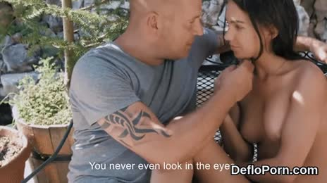 Lovesome chick opens up narrow snatch and gets deflorated