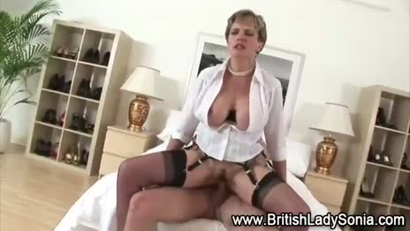 Lady Sonia rides cock in stockings