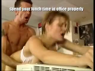 office doggy lunch time fuck
