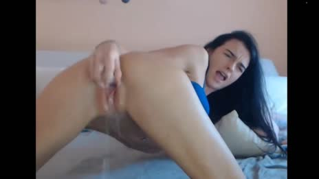 girl pushes out huge load of squirt at home gif