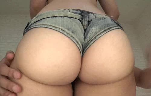 Chick in jeans panties having her nice ass soanked erotically gif