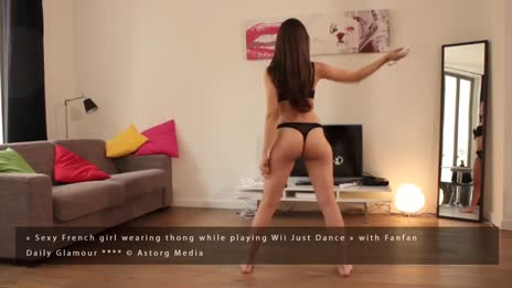 Sexy french girl playing Wii Just Dance