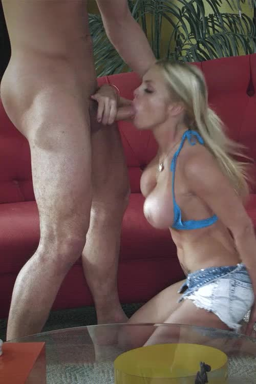 Erotic blonde in jeans short delivering a superb blowjob
