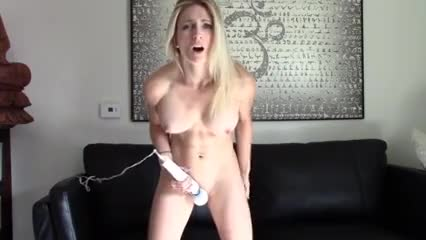 she manages to stay standing while cumming