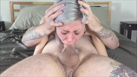 Face fuck cum in mouth looking at cam