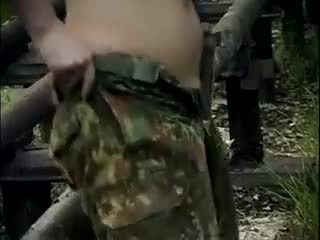 BW soldier pulling pants on