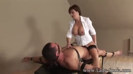 Lady Sonia riding her slave hard