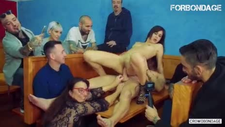 brunette crowd bondage