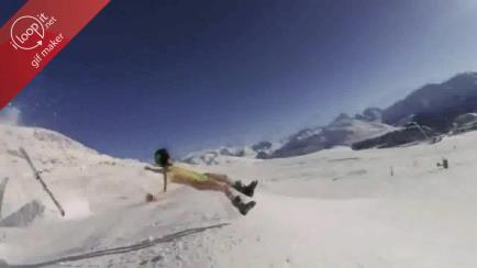 Seems he lost his skis gif
