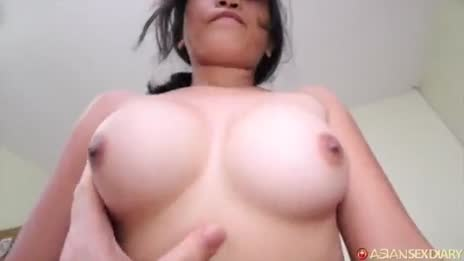 Cute Asian groped while fucking POV
