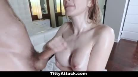 Busty pale girl jerks his cum onto her tits